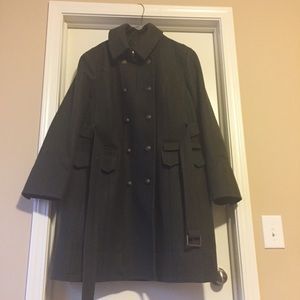 Army green knee length wool coat EUC